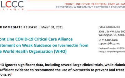 FLCCC verwijt WHO negeren van significante data
