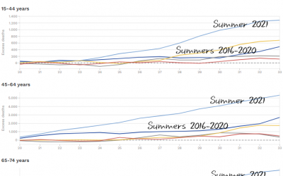 EU oversterfte trends in zomers 2016-2021